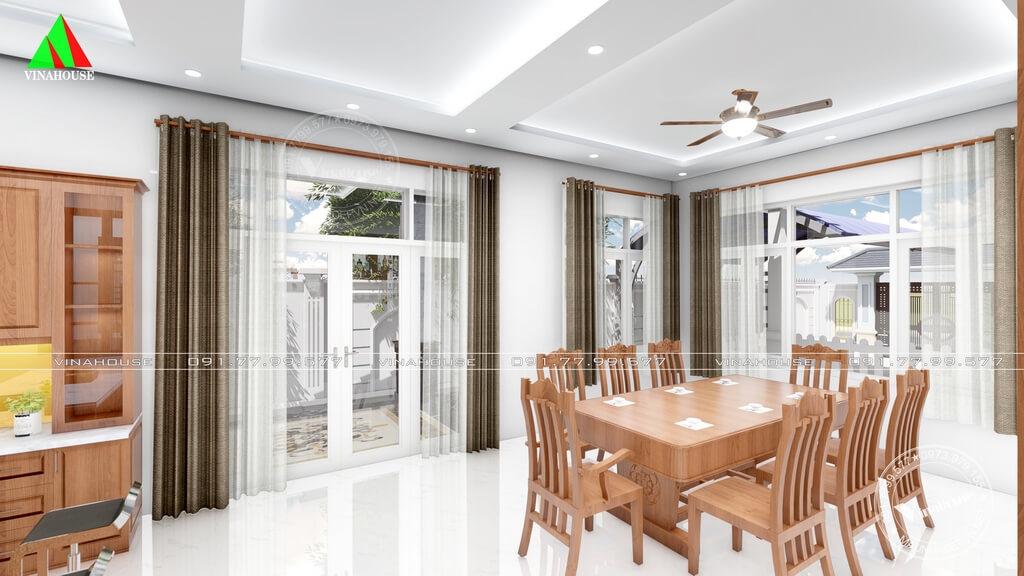Phòng ăn thoáng sáng không gian mở nhờ các cửa sổ lớn