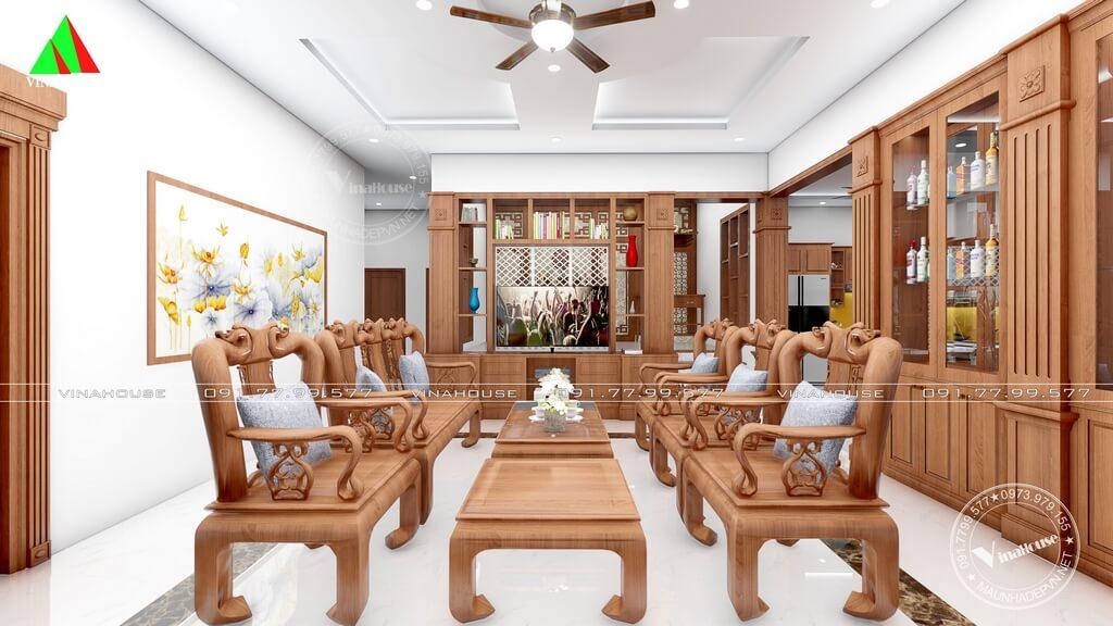Phòng khách sử dụng nội thất gỗ sang trọng
