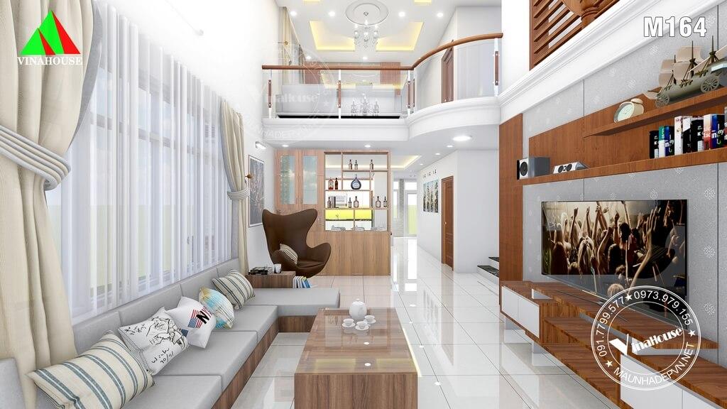 Phòng khách hiện đại thông tầng