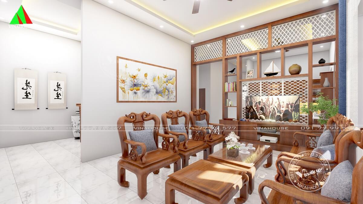 Phòng khách ngăn cách với phòng bếp bằng vách tivi trang trí