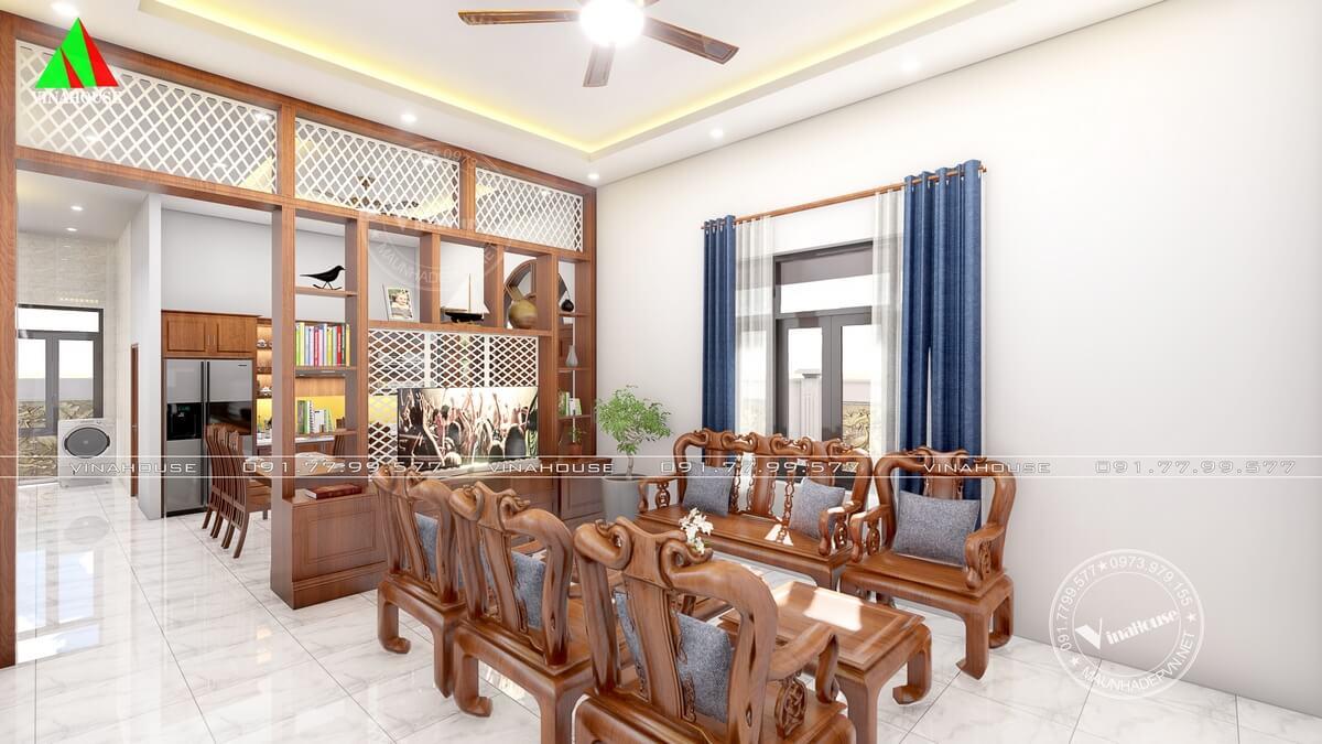 Phòng khách sử dụng bàn ghê gỗ