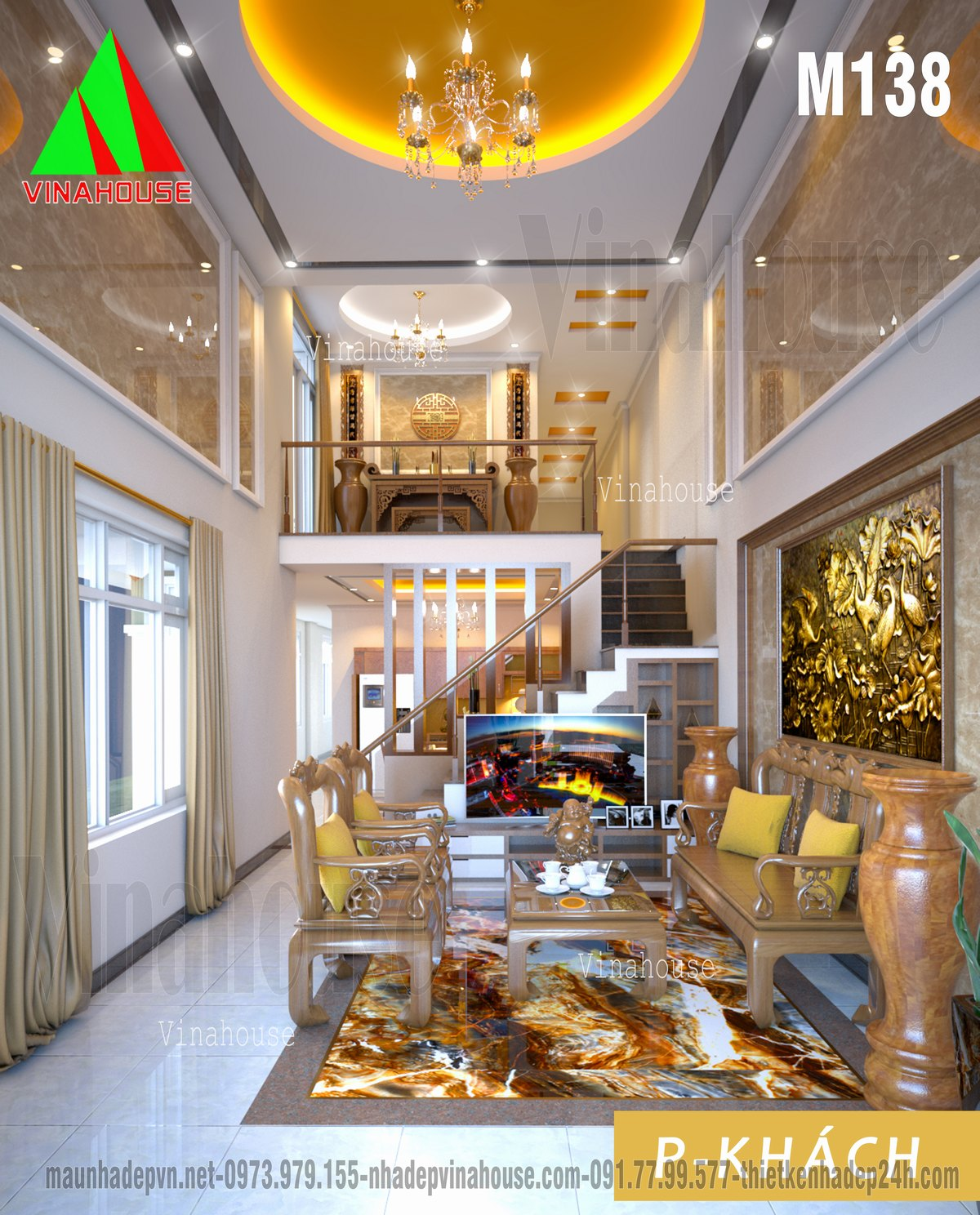 Phòng khách thông tầng lên tầng lửng