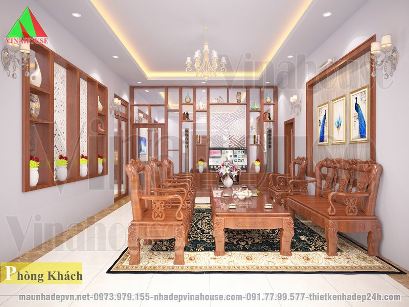 Phòng khách nhà vườn bố trí bàn ghế gỗ đẹp