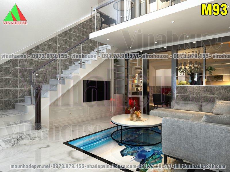 Phòng khách hiện đại cầu thang kẹp biên tiết kiệm diện tích