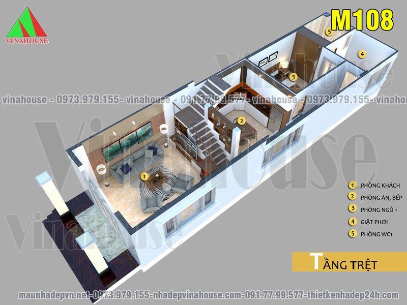 tang tret 1 - Nhà cấp 4 có gác lửng 5×19 mặt tiền mái thái 3 phòng ngủ 700 triệu