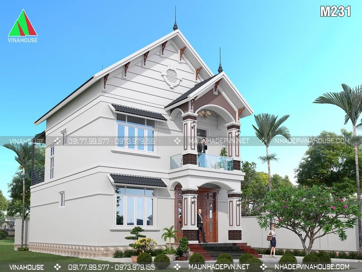 Thiết kế nhà 2 tầng 3 phòng ngủ 8x11 ở Thanh Hóa M231