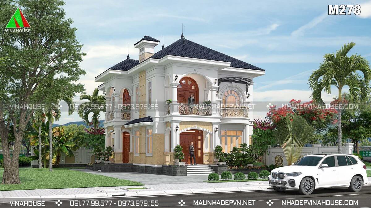 Thiết kế nhà 2 tầng tân cổ điển đẹp thời thượng M278