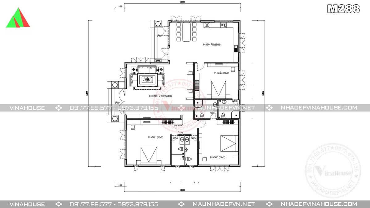 Mặt bằng nhà cấp 4 mái thái 3 phòng ngủ M288