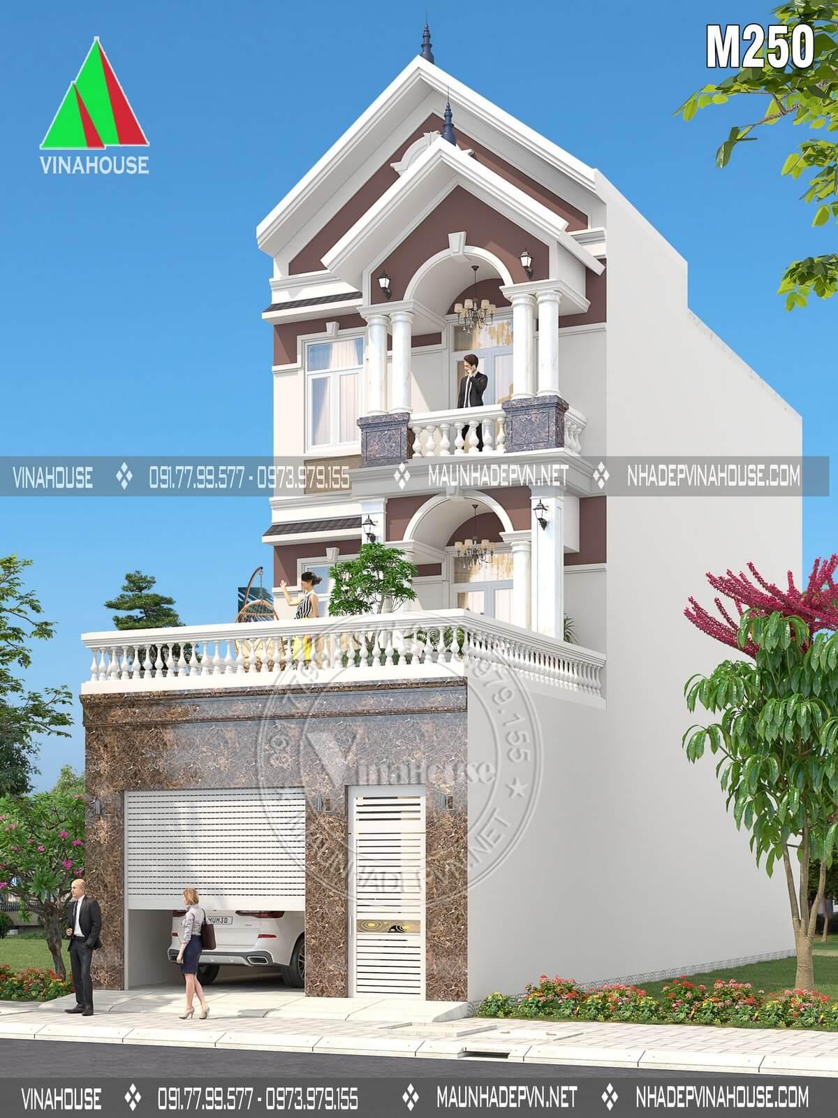 Thiết kế nhà phố 3 tầng hiện đại mặt tiền 6m mái thái ở Biên Hòa M250