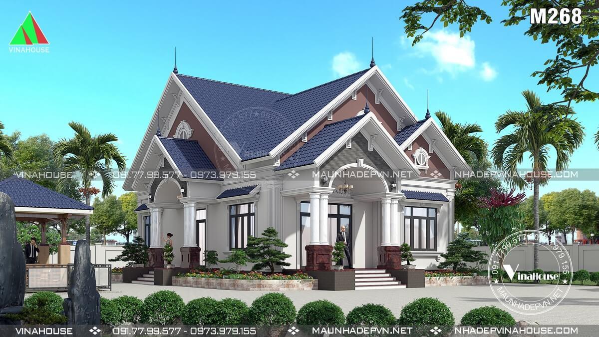Thiết kế nhà vườn 1 tầng tân cổ điển ở Bình Định M268
