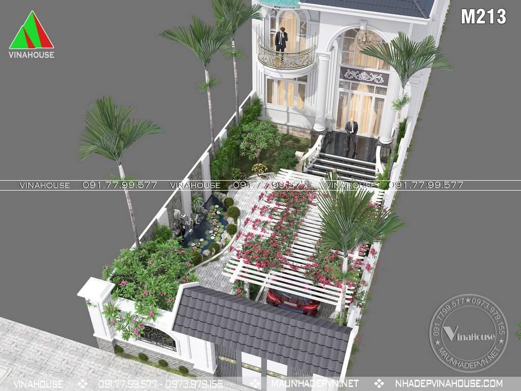 Tồng thể sân vườn phía trước biệt thự đẹp 2 tầng mặt tiền 8m